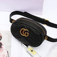 Женская поясная сумка на пояс в стиле Gucci (Гуччи) черная + ремешок на плечо, фото 1