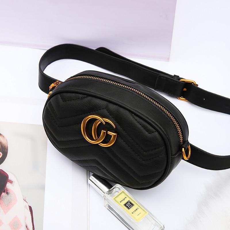 4b3aacb423d1 Женская поясная сумка на пояс в стиле Gucci (Гуччи) черная + ремешок на  плечо