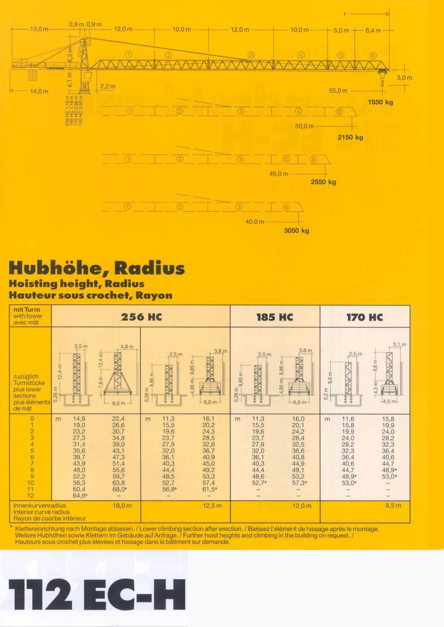 """Liebherr 112 EC H=44м L=55м Q=8т 2004 гв секция 120НС - """"Кран Лифт Сервис"""" в Киеве"""