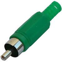 Штекер RCA  под шнур, корпус пластик, зелёный