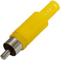 Штекер RCA  под шнур, корпус пластик, жёлтый