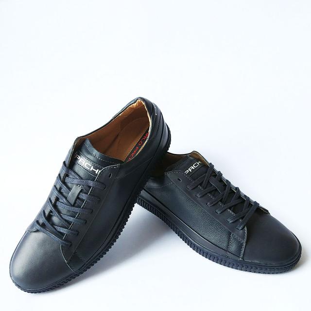 Харьковская обувь Carlo Pachini спортивные кожаные кеды синего цвета на шнуровке