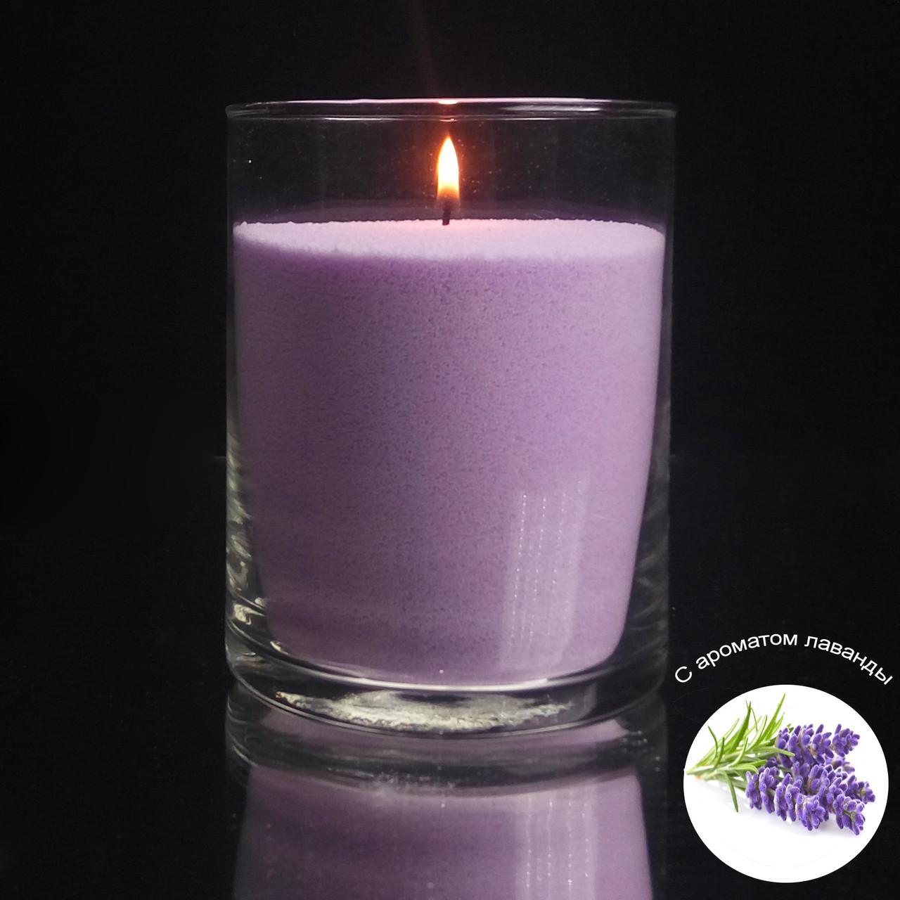 Ароматизированные сиреневые насыпные свечи, с запахом лаванды 1 кг + 1 м фитиля, фото 1