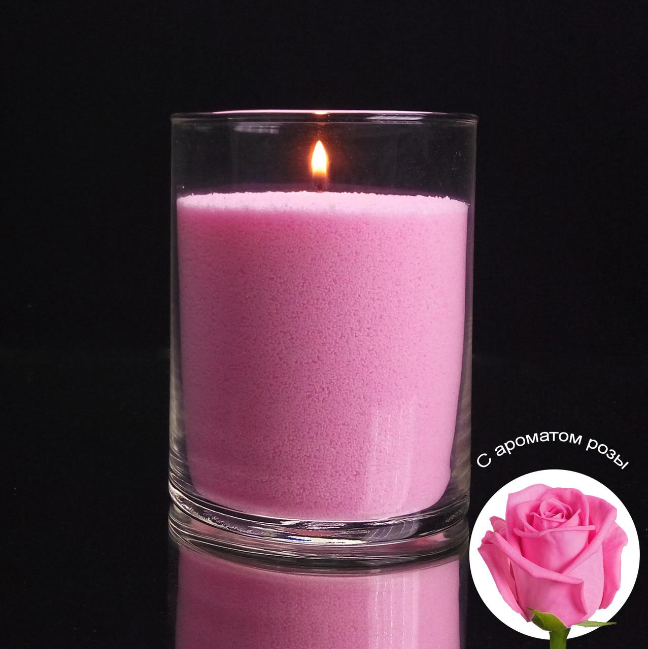 Ароматизированные розовые насыпные свечи, с запахом розы 1 кг + 1 м фитиля, фото 1