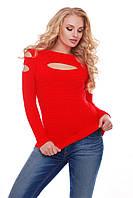 Свитер вязаный женский красный (декольте), фото 1
