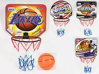 Баскетбольное кольцо, щит 29-25см(картон), кольцо 19,5см(пласт), мяч, 4 вида, в кульке