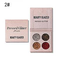 Прессованные тени для век с глиттером Beauty Glazed Color Pressed Glitter 02