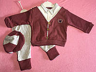 Костюм — Трикотаж 6-12-18 мес. Штаны, рубашка-свитер с короной и кепка
