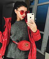 Женская поясная сумка на пояс в стиле Gucci (Гуччи) красная, фото 1