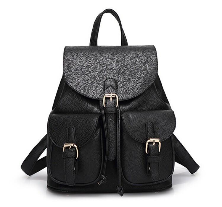 4b39a51f6d40 Рюкзак женский городской с накладными карманами из экокожи (черный) -  Интернет-магазин «