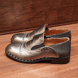 Туфли женские кожаные на низком каблуке с резинками серебристые размер 38, 39, 40
