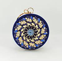 Велюровый клатч таблетка Rose Heart 00168 синий, сумочка на цепочке