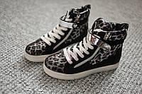 Женские кроссовки хайтопы леопард Black деми 36 - 41