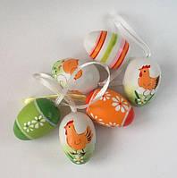 Яйца декоративные, подвесные 6 шт._ЦВЕТНЫЕ с КУРОЧКАМИ