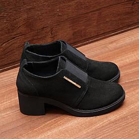 80191| Женские туфли на широком каблуке. Черные из замши с закрытым подъёмом
