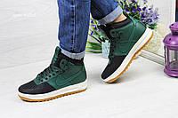 Женские кроссовки Nike Lunar Force, черные с зеленым / кроссовки женские высокие Найк Лунар Форс, кожаные