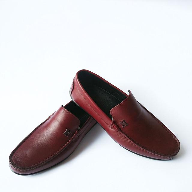 Мужская кожаная rifellini обувь Турция : удобные и качественные мокасины, бордового цвета, под ложку на каждый день