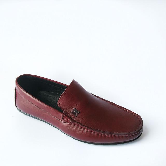 Практичная мужская кожаная rifellini обувь Турция : удобные мокасины, бордового цвета, под ложку, повседневные