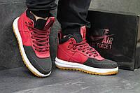 Мужские кроссовки Nike Lunar Force, черные с красным / кроссовки мужские высокие Найк Лунар Форс, кожаные