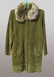 Женский пальто кардиган с меховым воротником