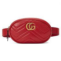 963a9a24ef7f Женская поясная сумка на пояс в стиле Gucci (Гуччи) красная + ремешок на  плечо