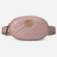 Женская поясная сумка на пояс в стиле Gucci (Гуччи) розовая