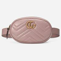 Жіноча поясна сумка на пояс в стилі Gucci (Гуччі) рожева + ремінець на плече, фото 1