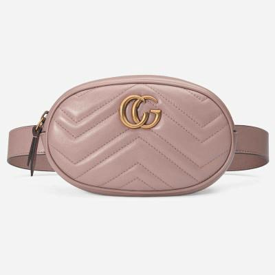 Жіноча поясна сумка на пояс в стилі Gucci (Гуччі) рожева + ремінець на плече