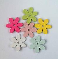 Цветочки-наклейки деревянные 6 шт
