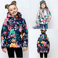 Весенняя детская куртка Цветы , 110 -140рр