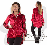 Бархатная рубашка-туника с пайетками