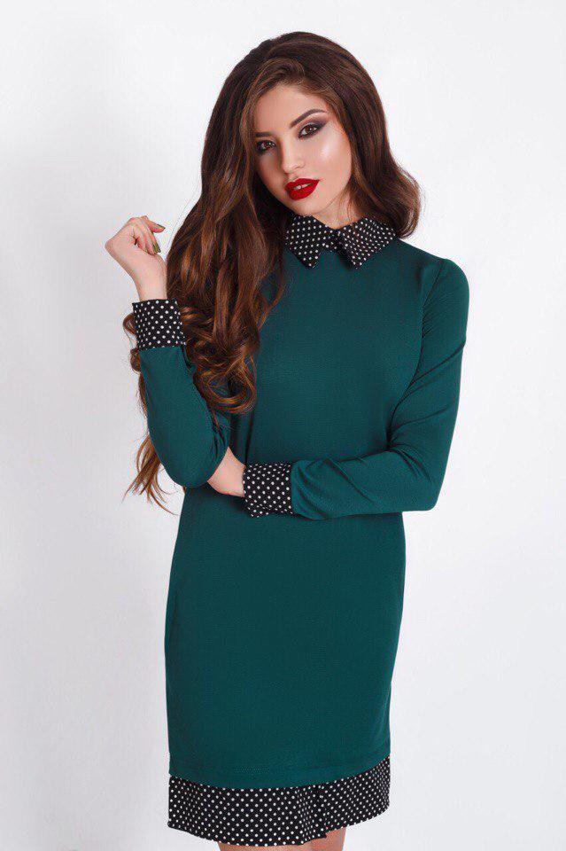 Платье с воротником+карманы