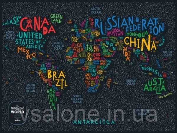 Скретч мапа Світу Travel Map LETTERS World (англ) (тубус)