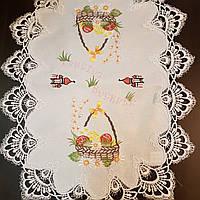 Салфетка пасхальная 55х40 с кружевом и вышивкой , фото 1