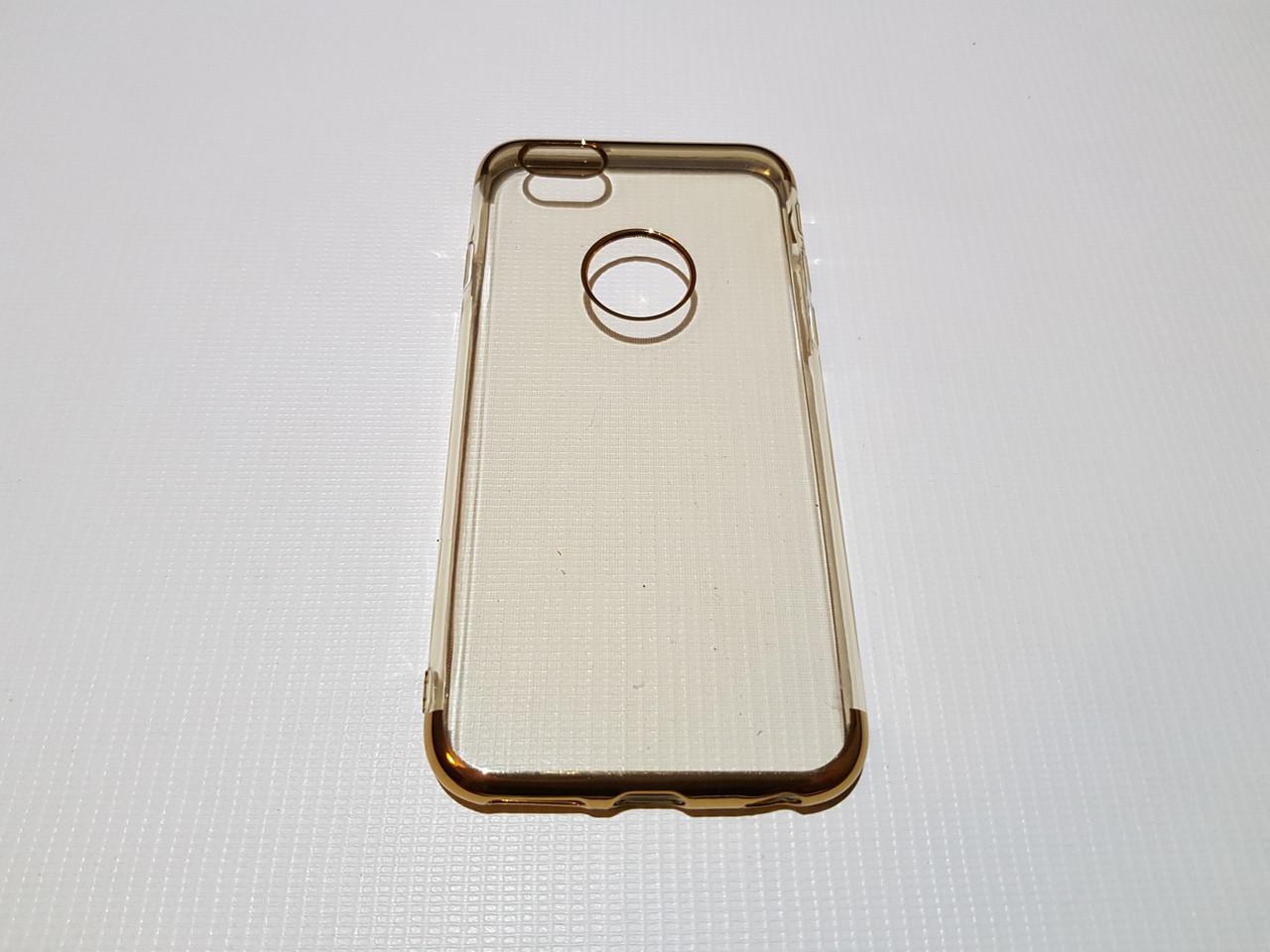 Силиконовый чехол бампер для IPhone 6, 6s с золотым ободком