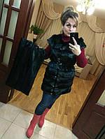 Женский жилет-трансформер с поясом под стриженую норку