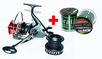 Катушка BratFishing COYOTE baitrunnerRD 4000(9+1)+леска, фото 1