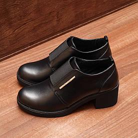80192| Женские туфли на широком каблуке. Черные из кожи с закрытым подъёмом