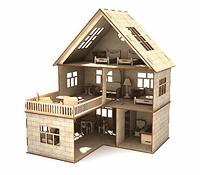 Кукольный домик из фанеры домик 3эт с балконом с кирпичами 46х34х47см, ляльковий будиночок