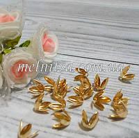 """Обниматели-концевики """"Тюльпанчик"""", 8 мм, 10 шт., цвет золото"""
