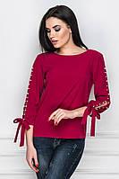 """Женская блуза """"Ameli"""" с декорированными рукавами, в расцветках"""