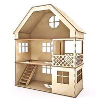Кукольный домик из фанеры домик 3эт с беседкой и с мебелью 60х50х20см, ляльковий будиночок