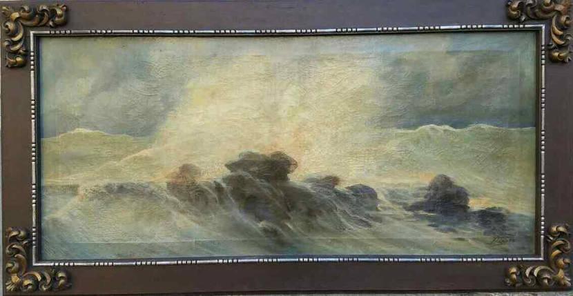 Картина Морской пейзаж K.Reseld нач.ХХ-го века, фото 2
