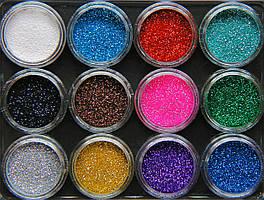 Набор декоративных пигментов глиттеров Спаркл Sparkle 12 шт. (Акриловые баночки)