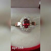 Женское серебряное кольцо арт.055 с напайками золота 375 и фианитами разных цветов