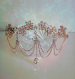 Диадема в восточном стиле, тика под золото с жемчугом и подвесным кулоном, корона, тиара, высота 6 см., фото 2