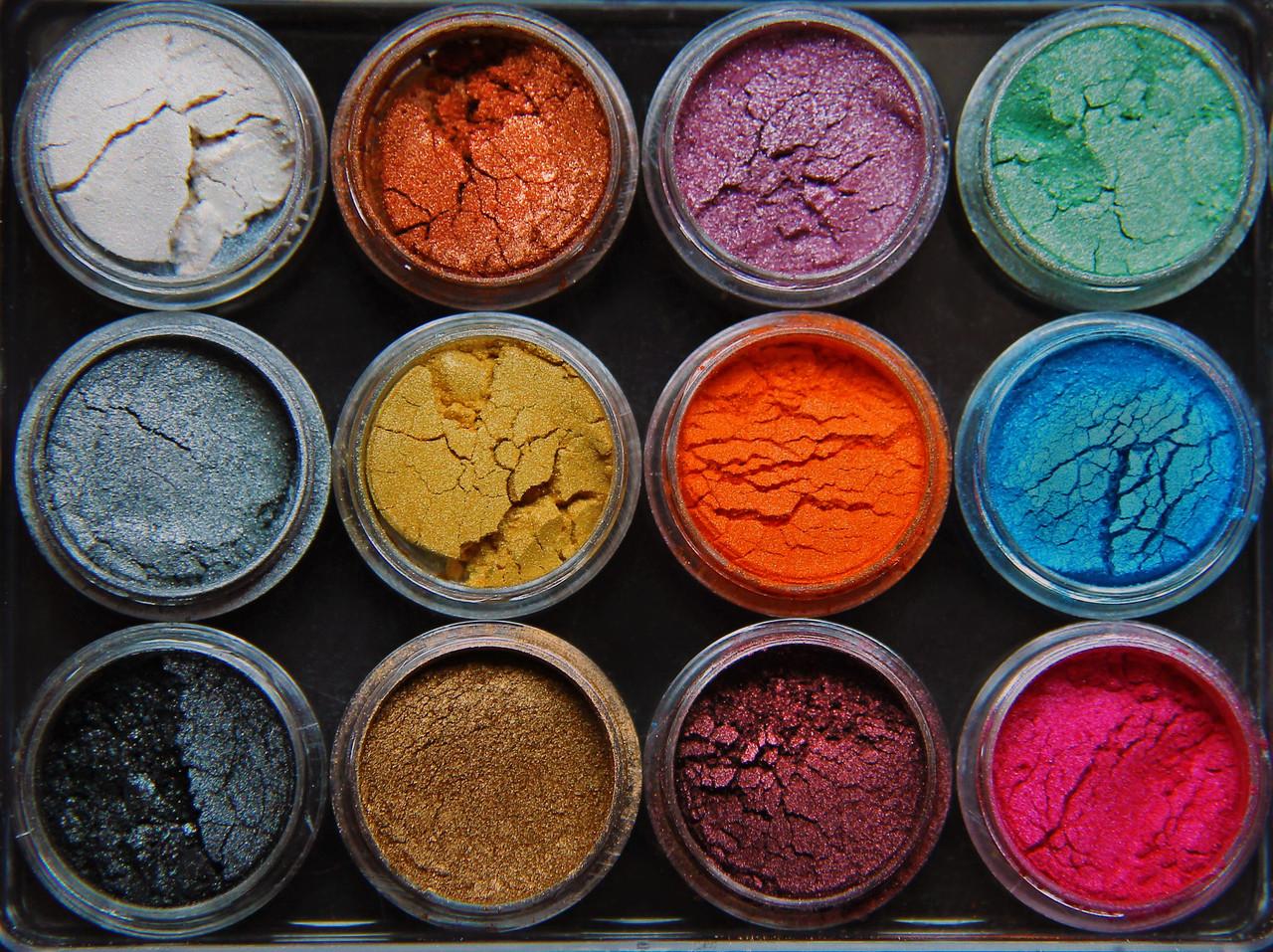 Набор из 12 пигментов мика пудры мелкодисперсные. MicaMe Rainbow МикаМи Радуга