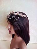 Диадема в восточном стиле, тика под золото с жемчугом и подвесным кулоном, корона, тиара, высота 6 см., фото 8