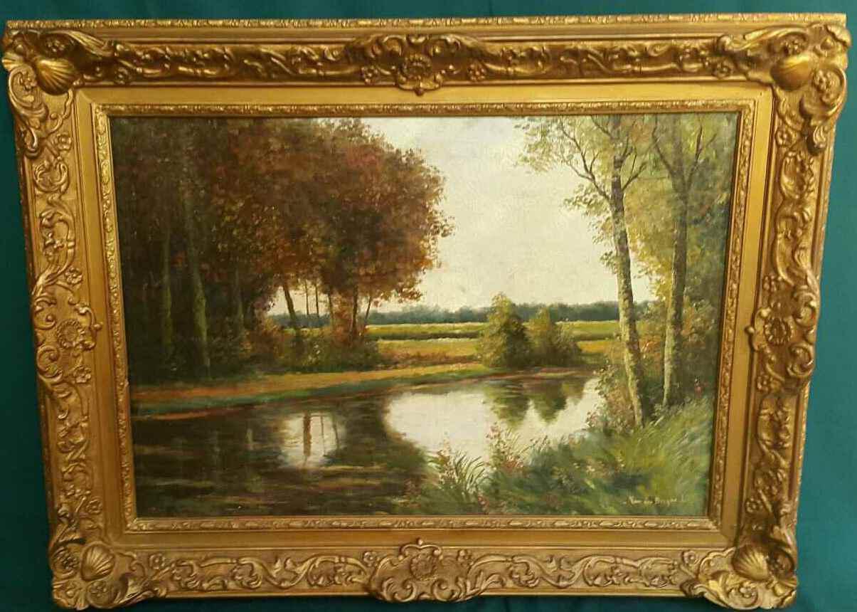 Картина Окраина леса нач.ХХ-го века J.Lies Франция