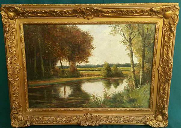 Картина Окраина леса нач.ХХ-го века J.Lies Франция, фото 2